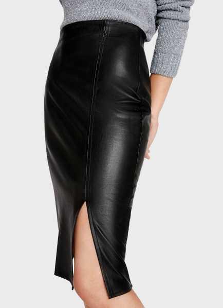 Фото Прямая юбка из искусственной кожи