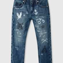 Фото Стильные джинсы с принтом для мальчиков