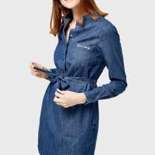 Фото Платье-рубашка из денима